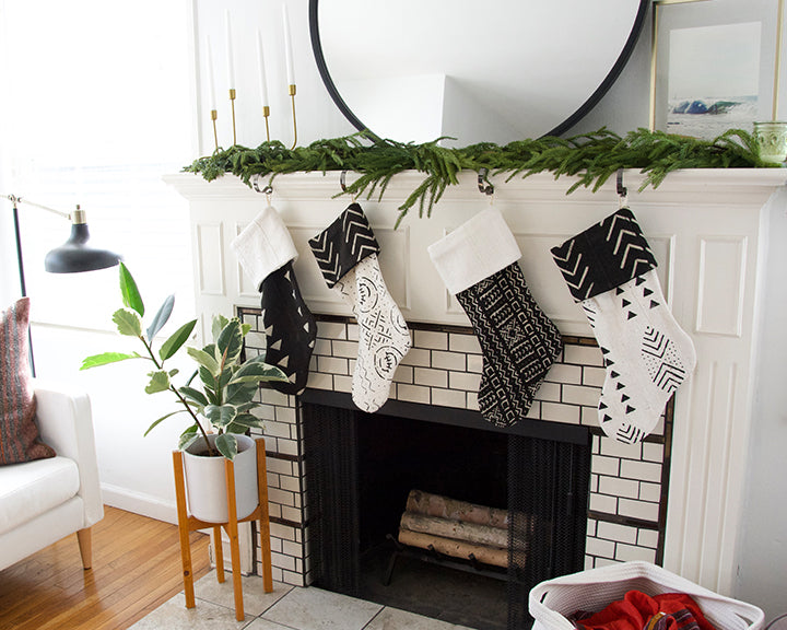 White Mud Cloth Christmas Stocking - Mixed Triangles