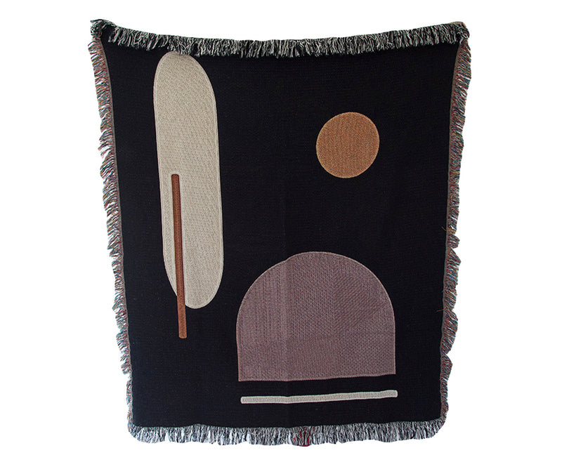 Abstract Black & Tan Throw Blanket V02