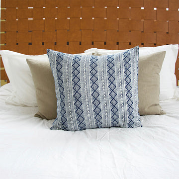 Blue & White Diamond Batik Accent Pillow - 22x22