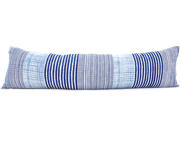 Indigo & White Striped Extra Long Lumbar Pillow - 14x50