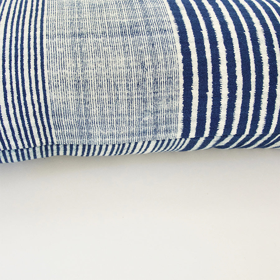 Indigo & White Striped Extra Long Lumbar Pillow - 14x36