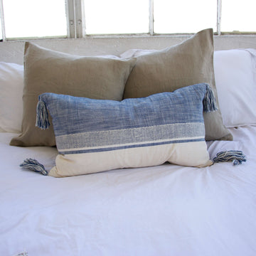 Blue & Cream Lumbar Pillow with Tassels - 14x22