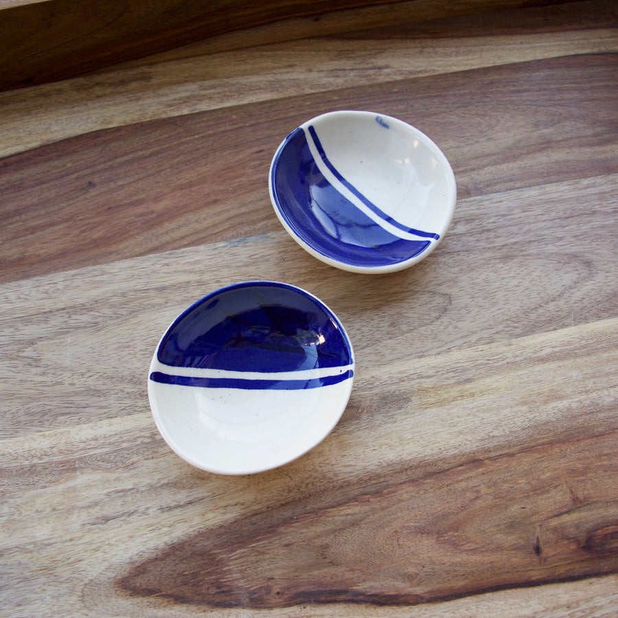 Blue and white ceramic trinket dish