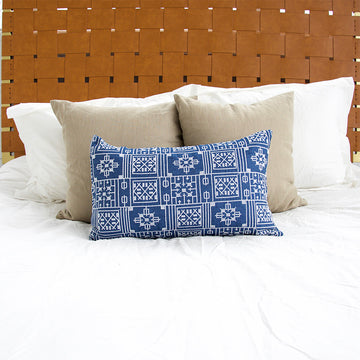 Blue Geometric Embroidered Lumbar Pillow - 14x22