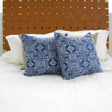 Blue Geometric Embroidered Accent Pillow - 24x24