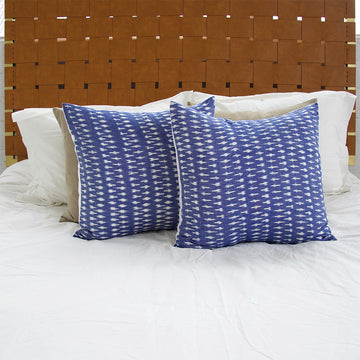 Blue & White Ikat Cotton Pillow - 22x22
