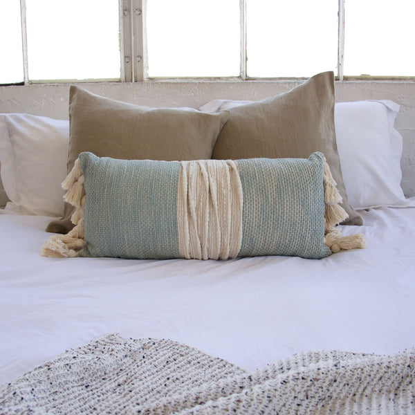 Blue and Cream Lumbar Pillow with Tassels - 12x26