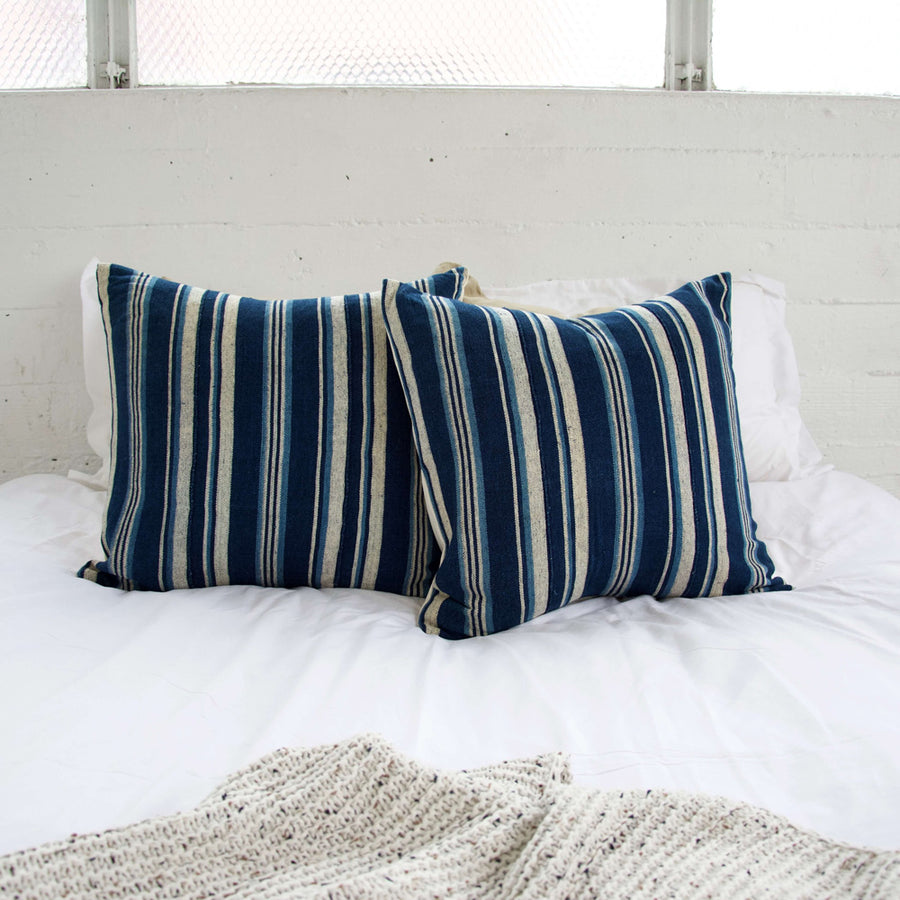 Blue & White Striped Mud Cloth Pillow - 22x22