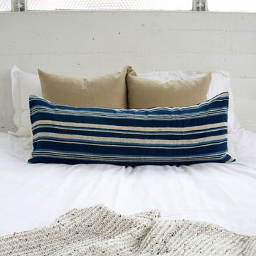 Blue & White Striped Mud Cloth Extra Long Lumbar Pillow - 14x36