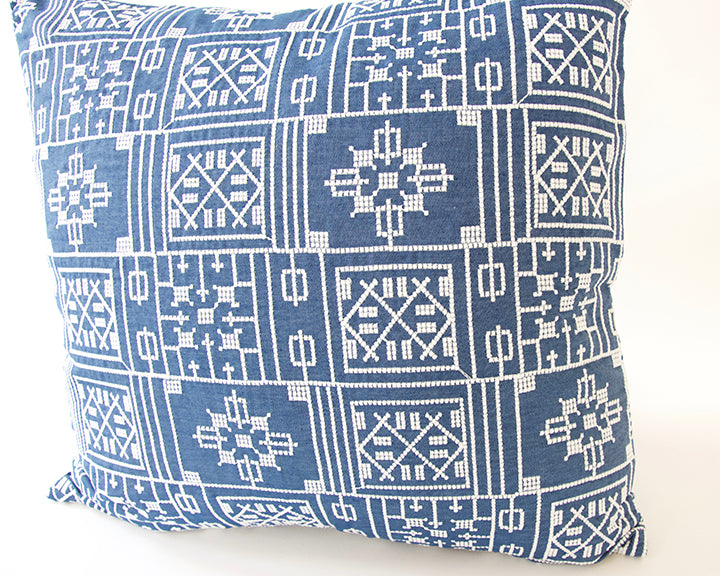 Blue Geometric Embroidered Accent Pillow - 22x22