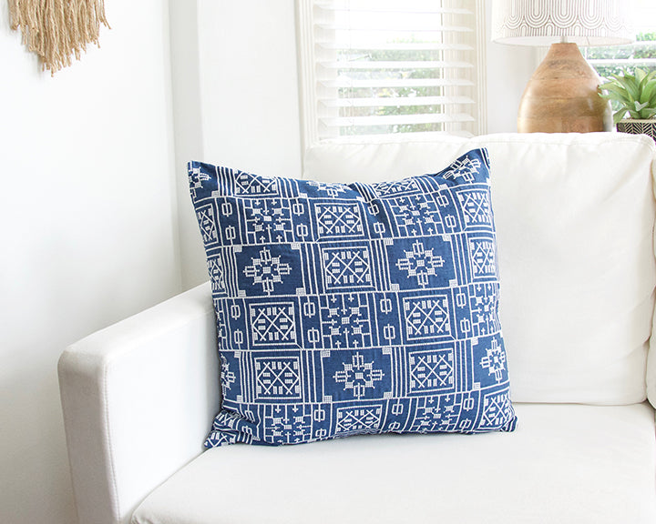Blue Geometric Embroidered Accent Pillow - 20x20