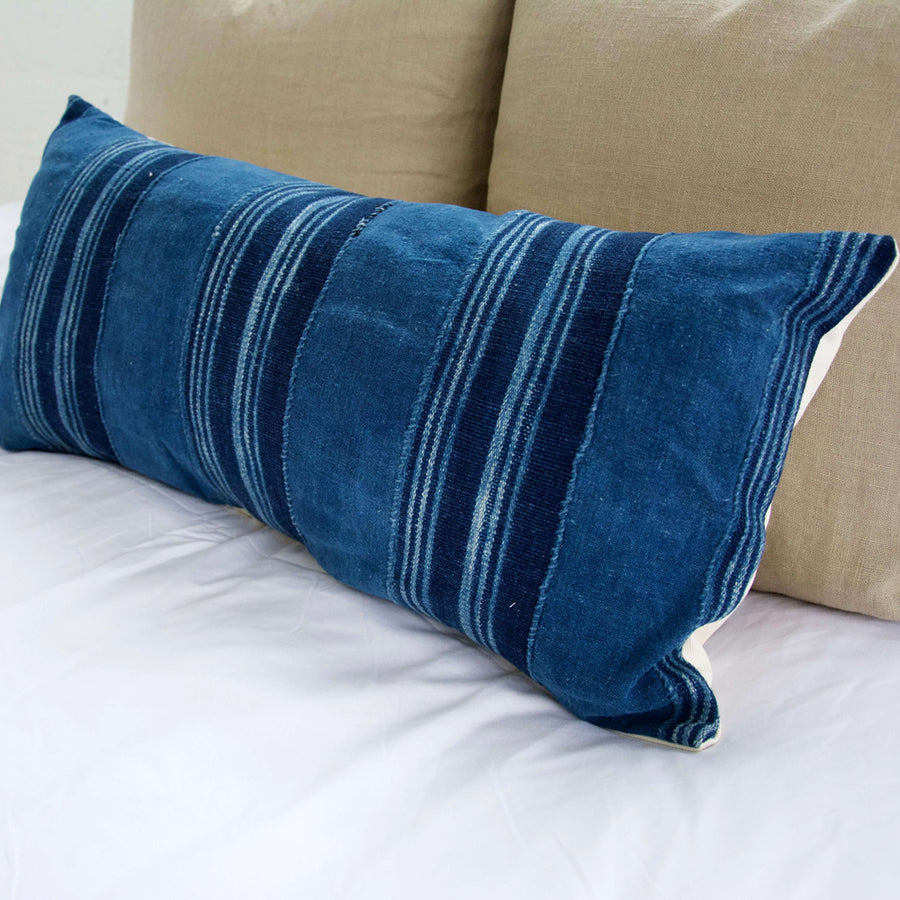 Blue Striped Mud Cloth Lumbar Pillow - 12x24