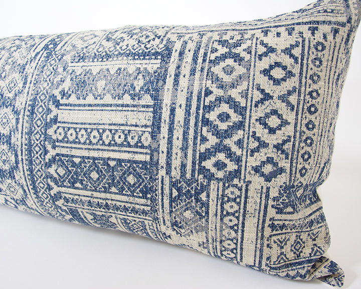 Blue & Off-White Southwestern Extra Long Lumbar Pillow - 14x36
