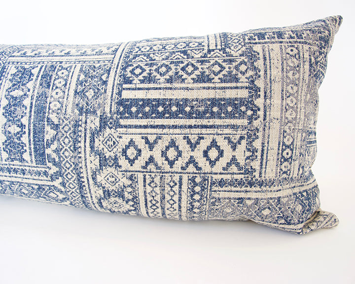 Blue & Off-White Southwestern Extra Long Lumbar Pillow - 14x50