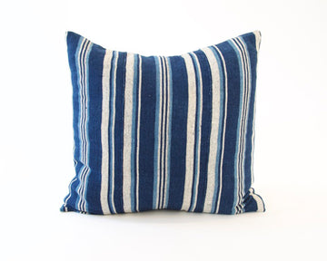 Blue & White Striped Accent Pillow - 22x22 #1