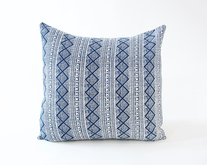 Blue & White Diamond Batik Accent Pillow - 24x24