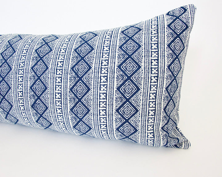 Blue & White Diamond Batik Extra Long Lumbar - 14x36