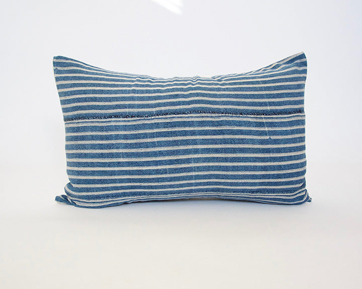 Blue & White Striped Mud Cloth Lumbar Pillow - 14x22 #2