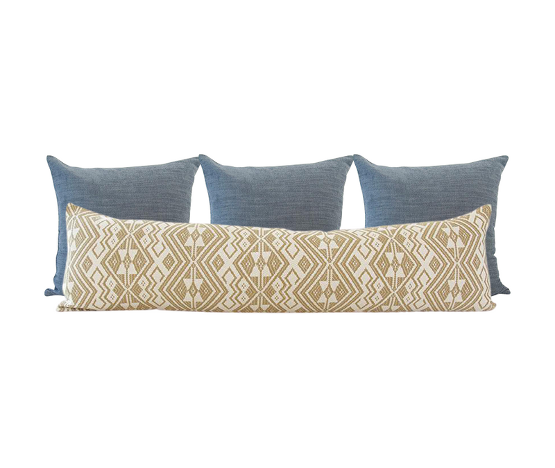 Blue and Golden Ebony Pillow Combo