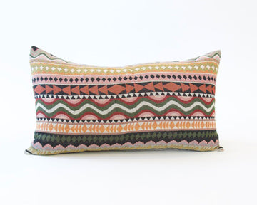 Boho Accent Lumbar Pillow - Orange & Pink - 14x22