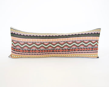 Boho Extra Long Lumbar Pillow - Orange & Pink - 14x36