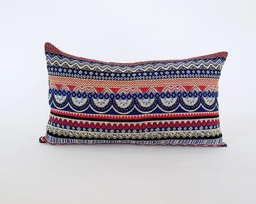 Boho Lumbar Pillow - Red & Blue - 14x22