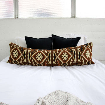 Brown and Black Retro Extra Long Lumbar Pillow - 14x50