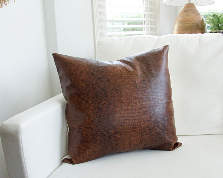 Brown Faux Reptile Leather Pillow - 20x20