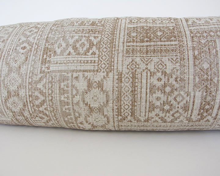 Brown & Light Beige Southwestern Extra Long Lumbar Pillow - 14x50