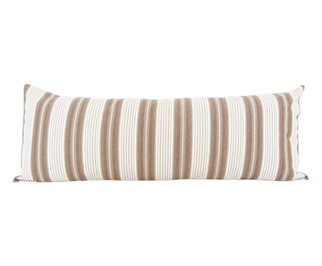 Brown & White Ticking Extra Long Lumbar Pillow - 14x36