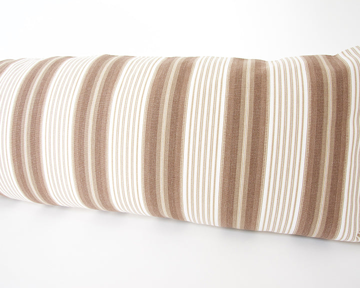Brown & White Ticking Extra Long Lumbar Pillow - 14x50