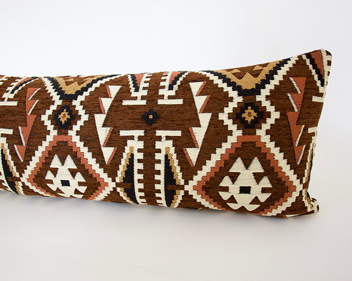 Brown and Black Retro Extra Long Lumbar Pillow - 14x36