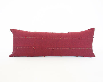 Burgundy Tiny Tassel Extra Long Lumbar Pillow - 14x36