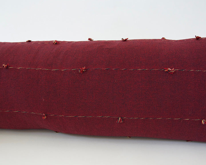 Burgundy Tiny Tassel Extra Long Lumbar Pillow - 14x50