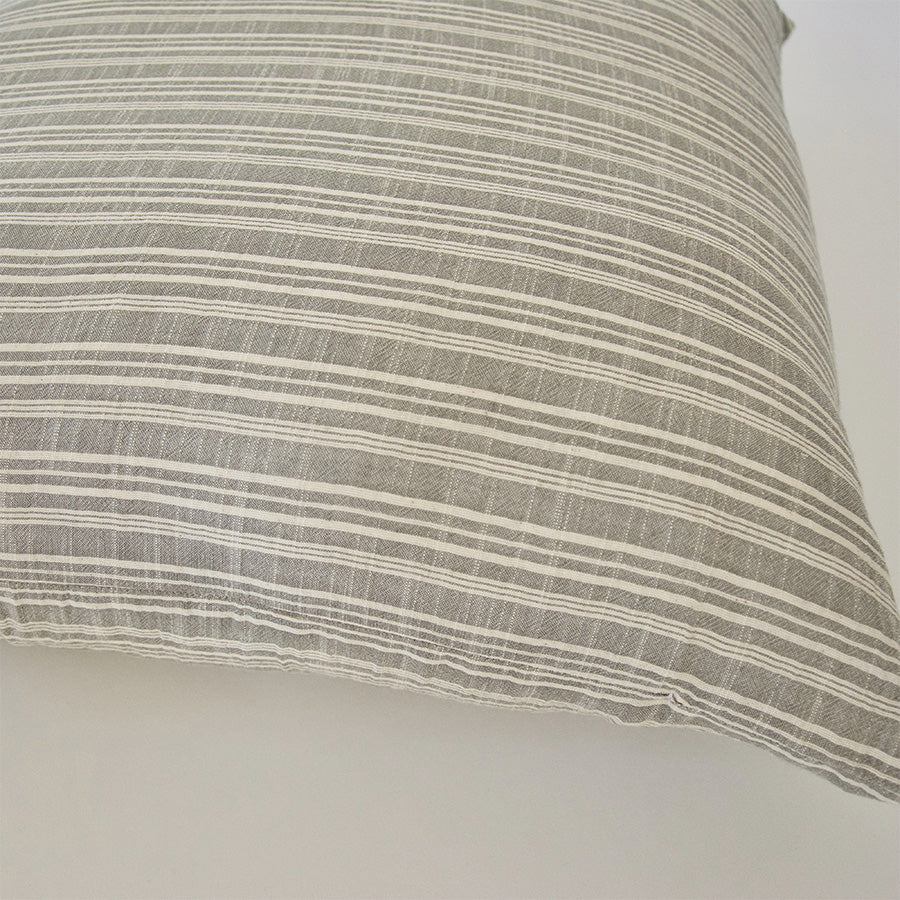 Classic Light Grey & White Striped Accent Pillow - 22x22