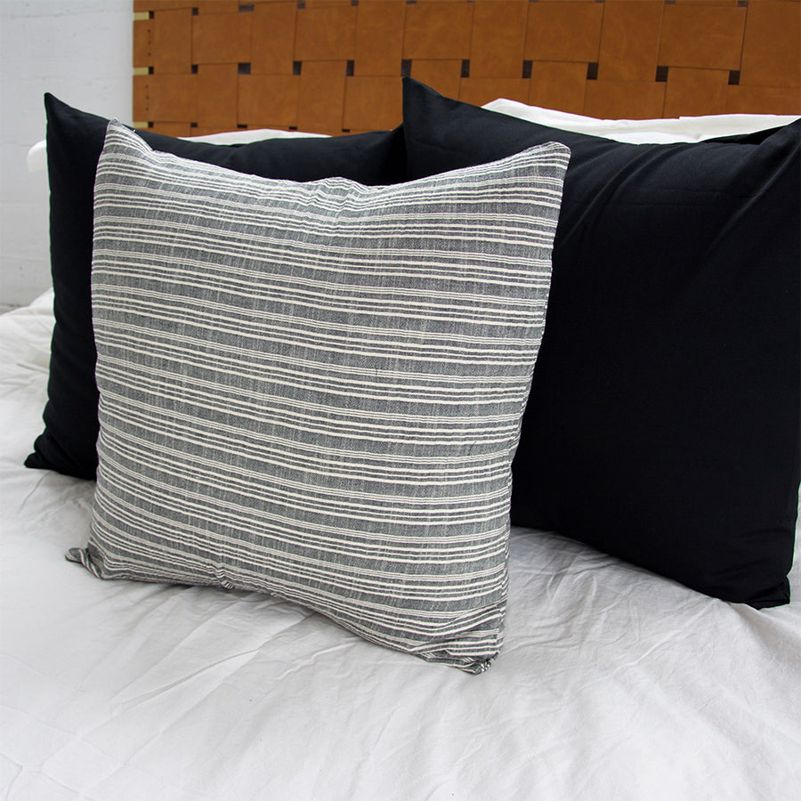 Classic Grey & White Striped Accent Pillow - 22x22