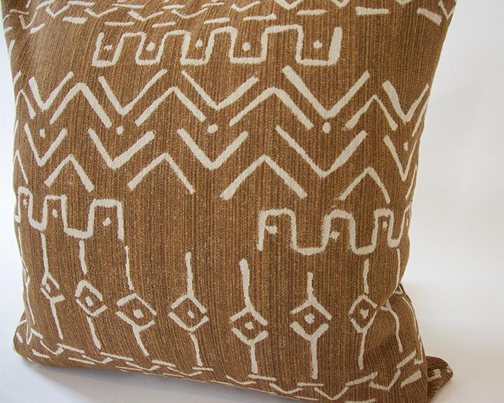 Cognac Mud Cloth Pattern Accent Pillow - 22x22