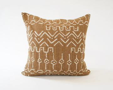 Cognac Mud Cloth Pattern Accent Pillow - 24x24