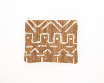 Cognac Mud Cloth Pattern Accessory Bag - #1