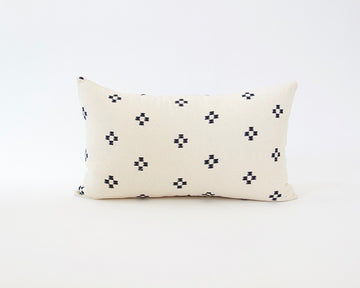 Cream & Navy Blue Cotton Lumbar Pillow - 14x22