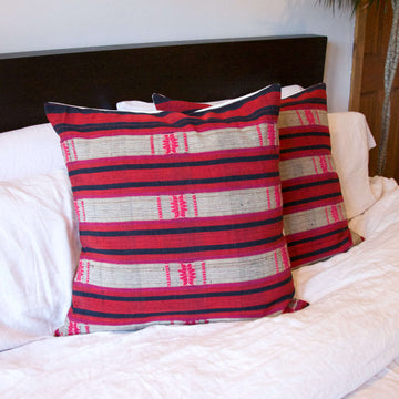 Red, Navy and Pink Accent Pillow 22x22 inches