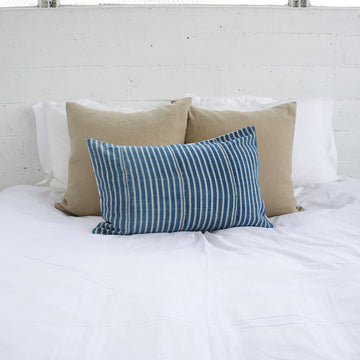 Blue & White Striped Mud Cloth Lumbar Pillow - 14x22 #1