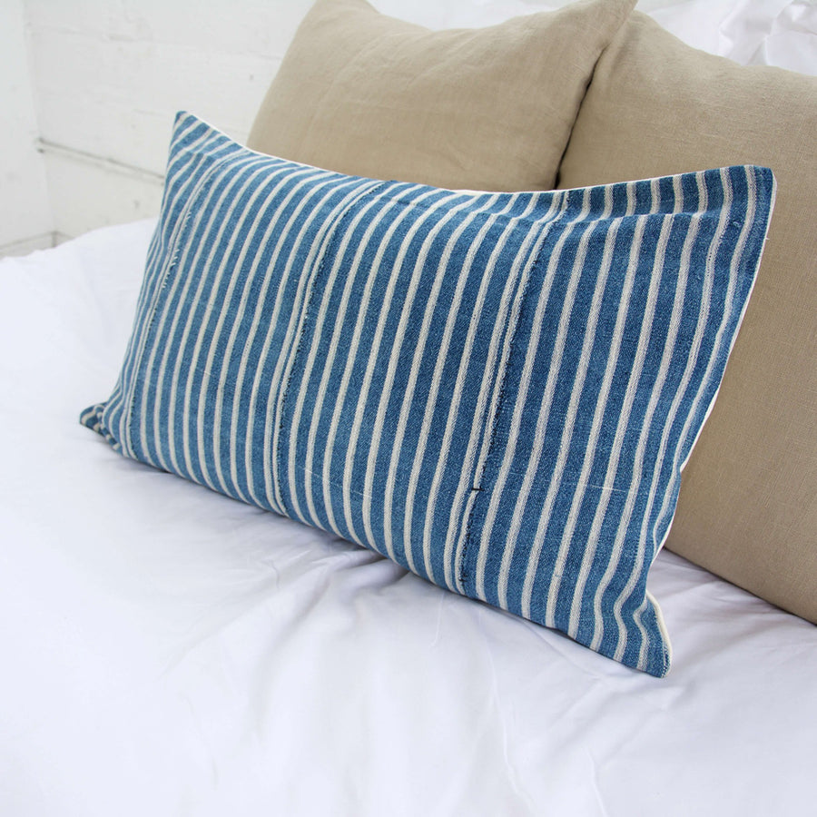 Blue & White Striped Mud Cloth Lumbar Pillow - 14x22