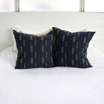 Dark Blue Dashed Accent Pillow - 22x22
