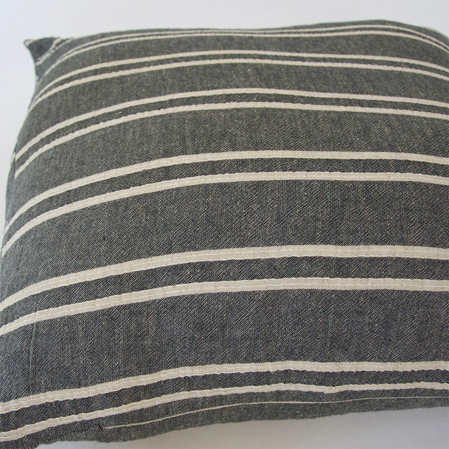 Dark Grey & Offwhite Striped Accent Pillow - 22x22