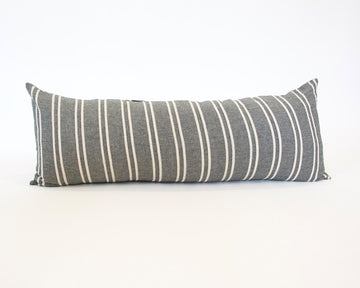 Dark Grey & Off White Striped Extra Long Lumbar Pillow - 14x36