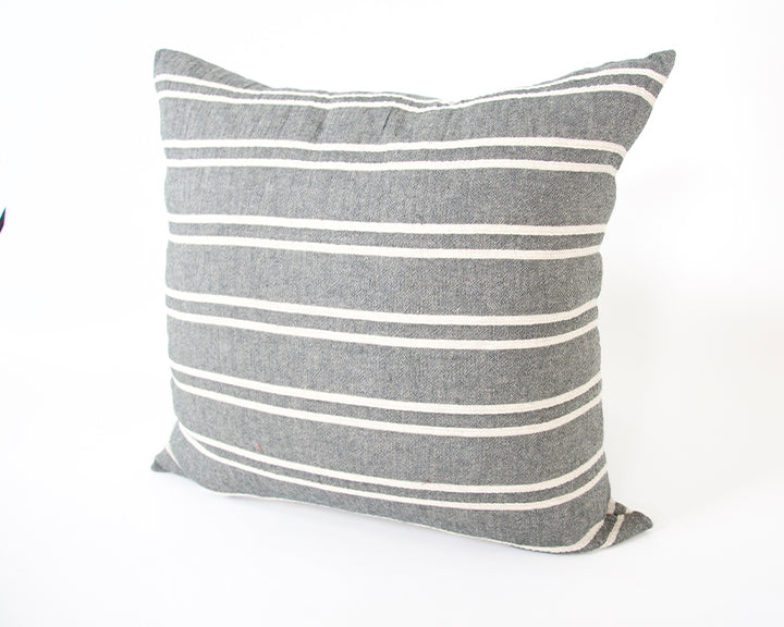 Dark Grey & Offwhite Striped Accent Pillow - 20x20