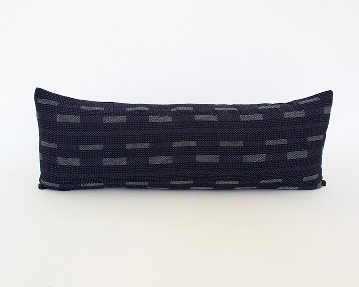 Dark Blue Dashed Extra Long Lumbar Pillow - 14x36
