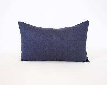 Dark Blue Linen Lumbar Pillow - 14x22