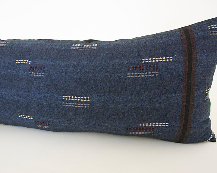 Deep Blue Stitched Extra Long Lumbar Pillow - 14x36